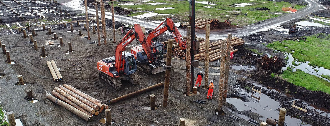 TTT Deep Pile Foundations being installed for a new swimming pool facility.