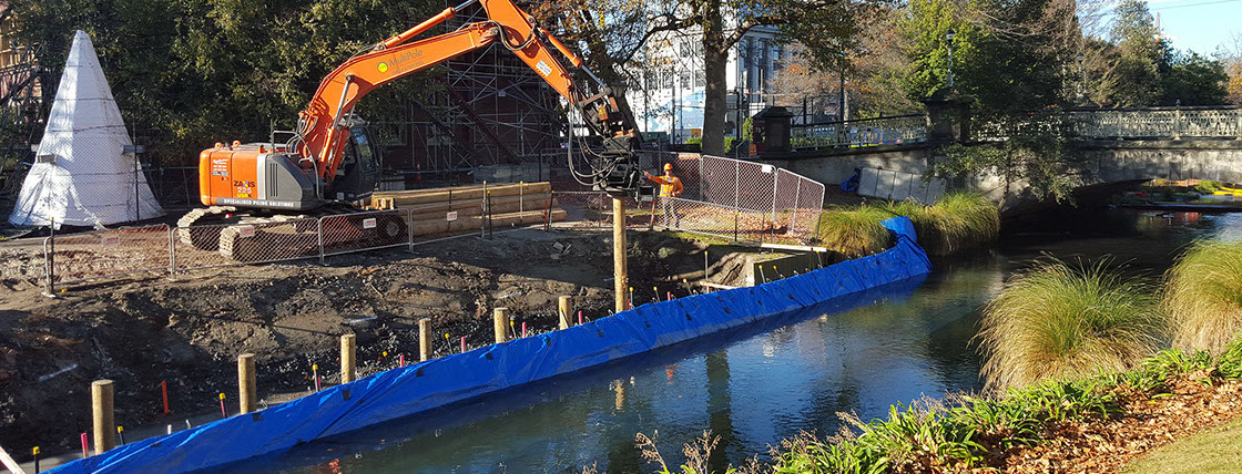 TTT Deep Pile Foundations being installed for a convention centre punt stop and river wall, Avon River, Christchurch.