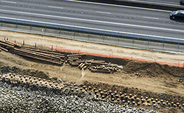 Aerial view of TTT Ground Improvement for State Highway 16 Causeway Upgrade in Auckland.